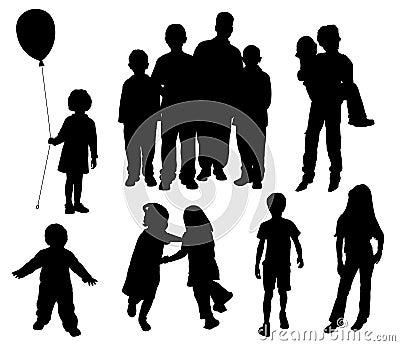 Silhuetas das crianças