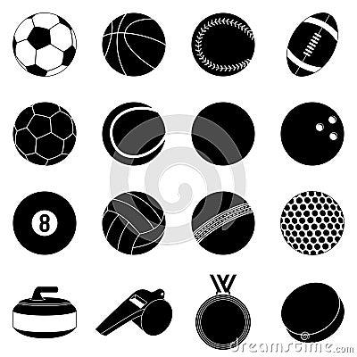Silhuetas das esferas do esporte