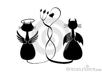 Silhuetas de dois gatos. Anjo e diabo