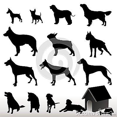 Silhuetas do cão do vetor
