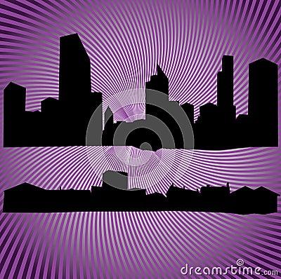 Silhuetas dos edifícios e das casas
