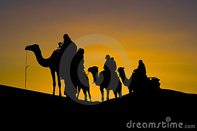 Silhuette of a camel caravan in the desert