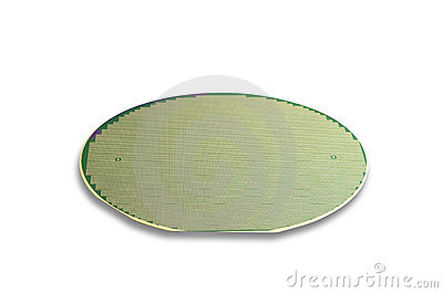 Silicon wafer in green,isolated