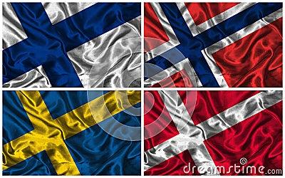 Silk Flags of  Scandinavia
