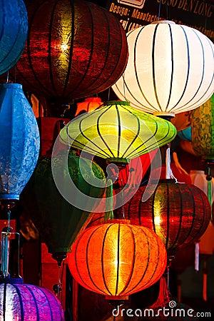 Silk Lanterns Glowing at Night