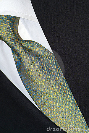 Silk necktie and dark suit