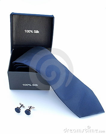 Silk Tie and Cuff links set.