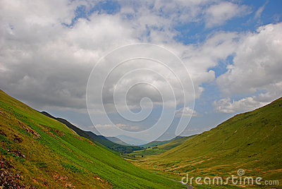 Silky Grassland with Valley in Lake District