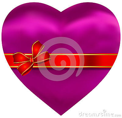 Silky Satin Pink Heart with Red Ribbon