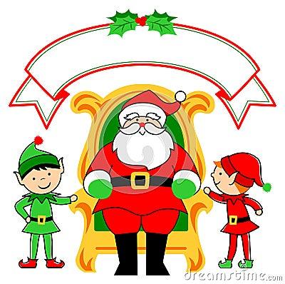 Silla y duendes de Santa