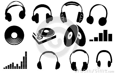 Silluettes  Headphone And Turntable Royalty Free Stock Image - Image: 26047486