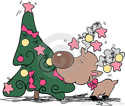 Silly reindeer eating christmas tree