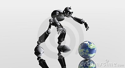 Silly robot and globe