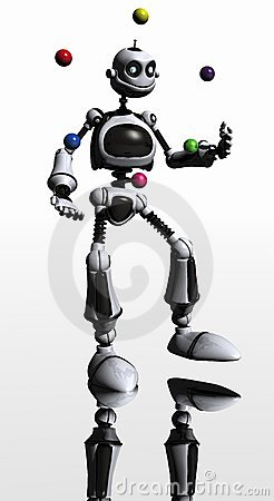 Silly robot juggles