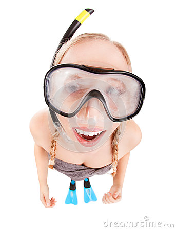 Silly snorkeler girl with mask fogging up