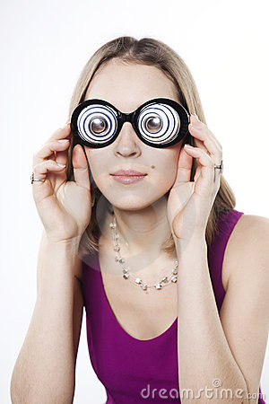 Silly young woman in strange googles