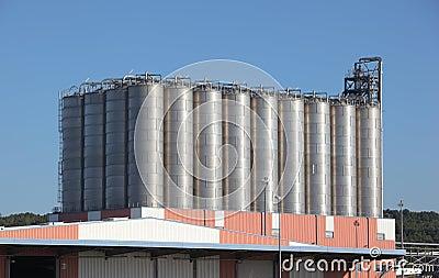 Silos in a oil refinery