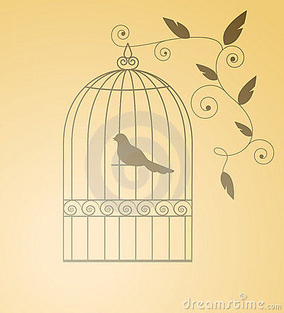 Free Siluet Bird In A Cage Royalty Free Stock Photos - 11340798