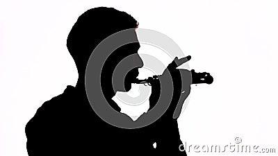 Silueta Aislado El individuo juega una melodía hermosa en la flauta Perfil del músico Copie el espacio metrajes
