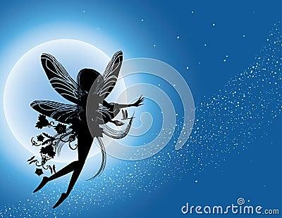 Silueta de hadas del vuelo en cielo nocturno