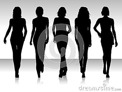 Silueta de cinco mujeres.