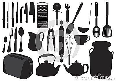 Silueta de los utensilios de cocina foto de archivo libre for Utensilios del chef