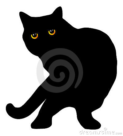 Silueta de pelo corto británica negra del gato