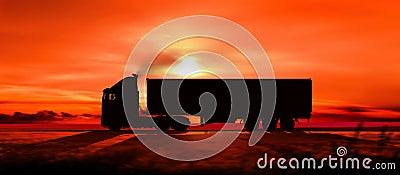 Silueta de un camión en la puesta del sol