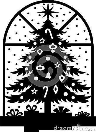 Silueta del árbol de navidad