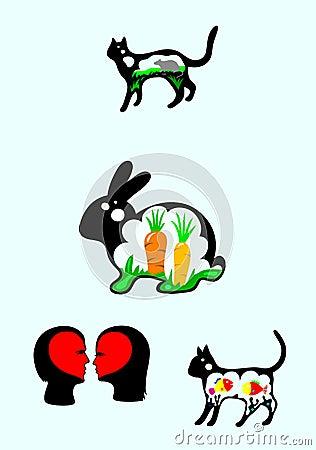 Silueta del conejo y del gato