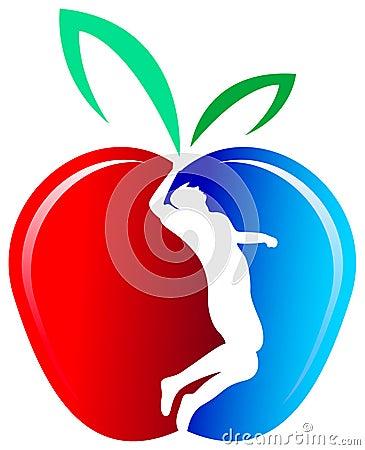 Silueta del hombre en una manzana