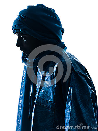 Silueta del retrato del Tuareg del hombre
