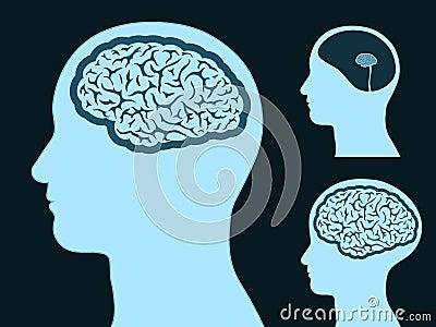 Silueta principal masculina con el cerebro pequeño y grande