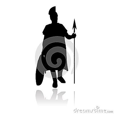 Silueta romana del vector del centurión