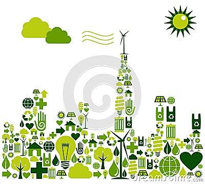 Silueta verde de la ciudad con los iconos ambientales