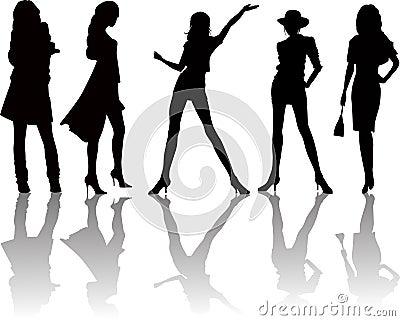 Siluetas de cinco atractivas mujeres - vector
