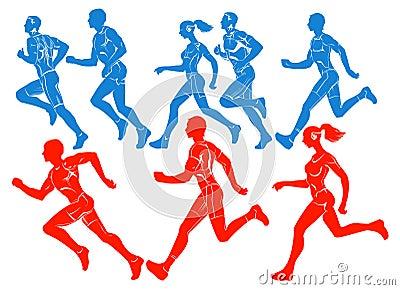 Siluetas de atletas corrientes