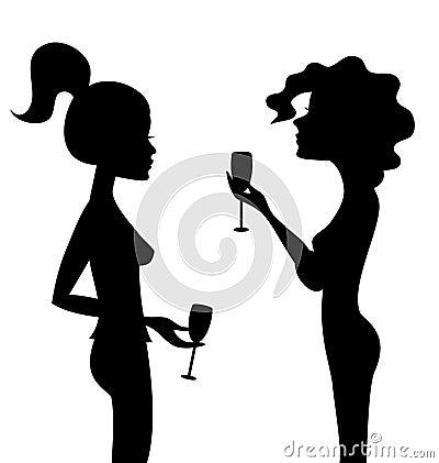 Siluetas de dos mujeres que hablan con el vino.