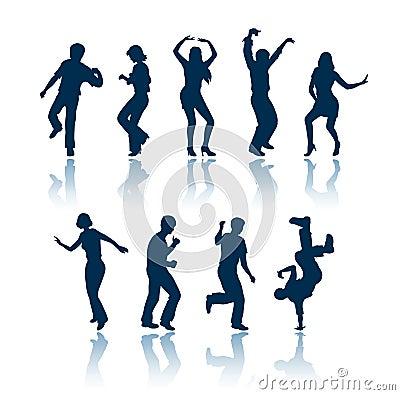 Siluetas de la gente del baile