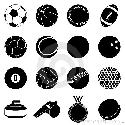 Siluetas de las bolas del deporte