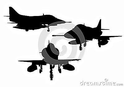 Siluetas de los aviones militares de los E.E.U.U.