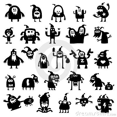 Siluetas de los monstruos de la Navidad