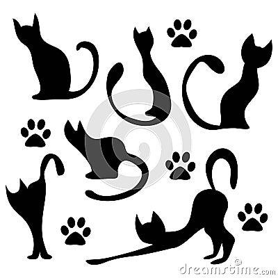 silueta de gato negro-#39