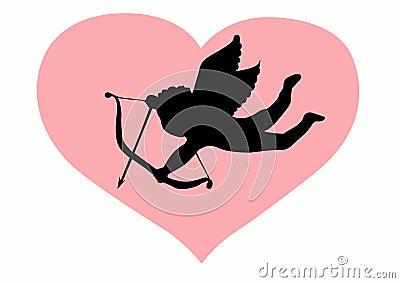 Siluetta del Cupid di amore