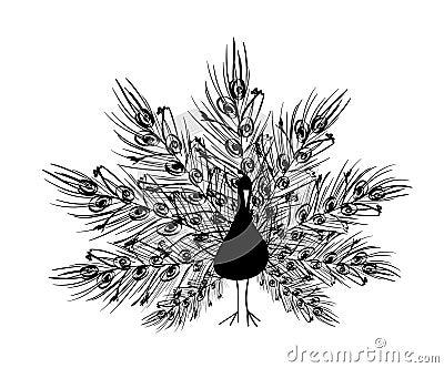 Siluetta del pavone con la coda ornamentale