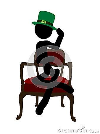 Siluetta dell illustrazione di Stickman di giorno della st Patricks