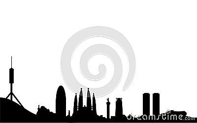 Siluetta dell orizzonte di Barcellona