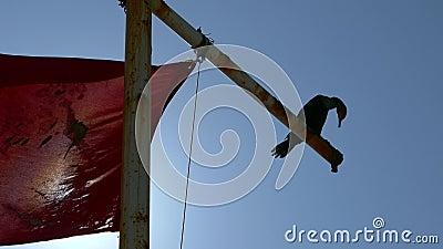 Siluetta dell'uccello in vento con la bandiera rossa ed il sole stock footage