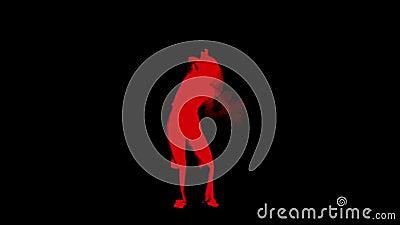 Siluetta della ragazza ballante su fondo nero L'effetto della traccia ha aggiunto video d archivio