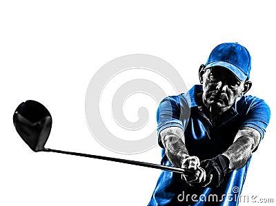 Siluetta golfing del ritratto del giocatore di golf dell uomo